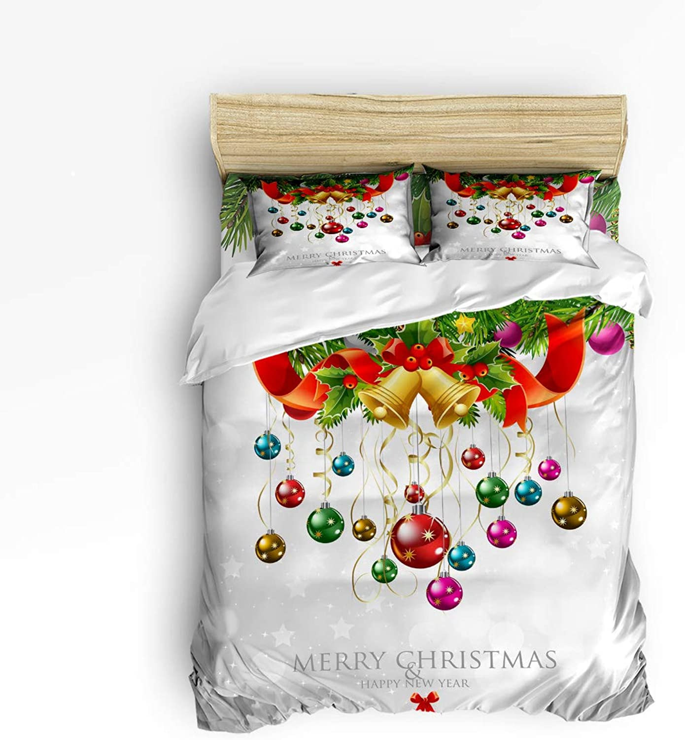 LEO BON Duvet Cover Set Twin Size Merry Christmas,Jingling Bell Floral Duvet Cover and Pillow Shams Bed Set
