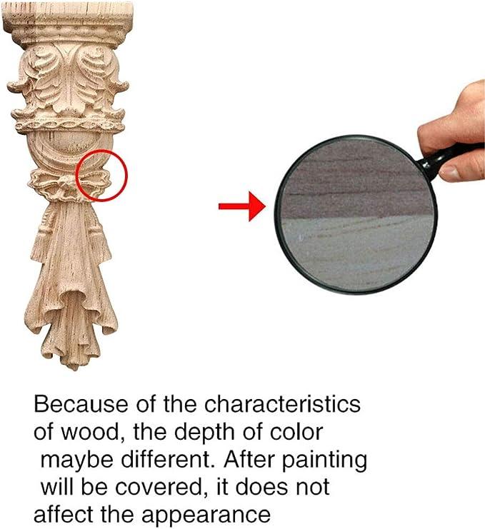 Surui 4 piezas de madera tallada muebles applique adorno tallado adorno para puerta casa puerta decoraci/ón DIY hecho a mano 5 x 5cm #2