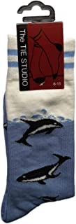 Dolphins in pale blue Ocean Unisex Novelty Ankle Socks Adult Size 6-11