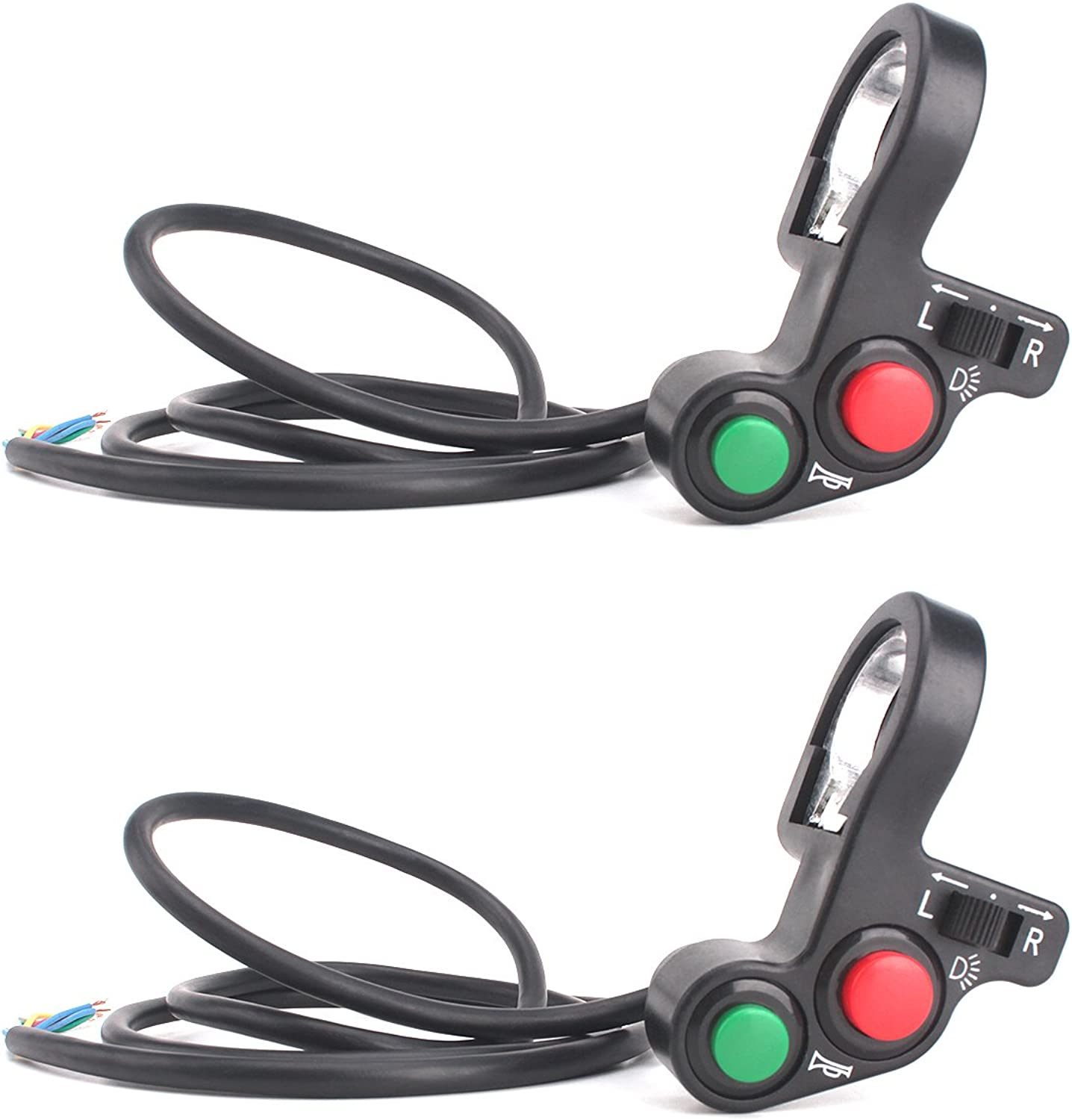 Zramo 2 Pack Handlebar MultiFunction Motorcycle Offroad Horn Turn Signal On Off Light Switch