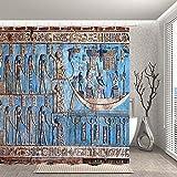 lovedomi Decoración egipcia Cortina de Ducha Murales misteriosos sobre mitología Antiguo Egipto Templo Mejora de la Pared Tela de poliéster Cortina de baño Accesorios de baño 12 Ganchos de 69x70 Inch