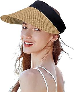Straw Visor Beach Sun Hat Cap for Women Foldable Wide Brim Anti-UV