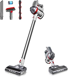 Cordless Vacuum, Deik Stick Vacuum Cleaner, 11000Pa Lightweight 4 in 1 Handheld Rechargeable Vacuum with Powerful Suction and LED Brush for Home and Pet Hair Cleaning (Silver)