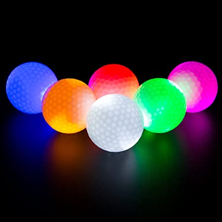 LED Light up Golf Balls, Glow in The Dark Night Golf Balls - Multi Colors of Blue, Orange, Red, White, Green, Pink - Pack of 6