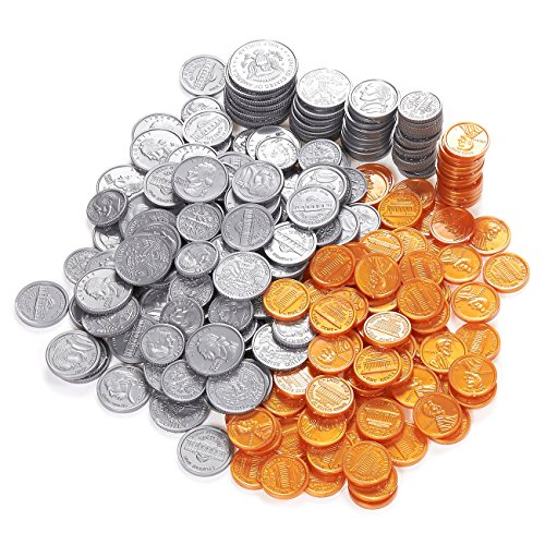 Play Coin Set, Includes 10 Half-Dollars, 40 Quarters, 50 Dimes, 50 Nickels, 100 Pennies (250 Pieces)