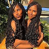 Karida 7 Packs Crochet Box Braids 18/24 Inch 3X Goddess Box Braids Crochet Hair With Curly Ends Synthetic Kanekalon Crochet Hair Braids 24 Strands/Pack (24 Inch, 1B#)