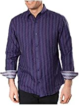 Jhane Barnes Purple Emblazoned Classic Fit Shirt