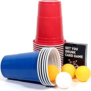 Upchase 50 Beer Pong Tasses Set, Gobelet Réutilisable, Rouges et Bleues 16oz 473ml, 10 Balls de Ping-Pong