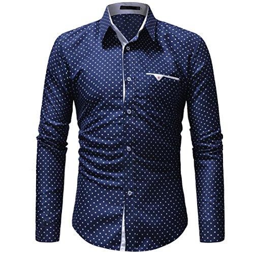 Herren Hemd Slim Fit Langarm Casual Style Patchwork Punkte Knopfleiste Karohemd Kariert Langarmshirt Freizeit Hochzeit Arbeit Business Hemd für Männer(z-Blau, EU-46/ CN-L)