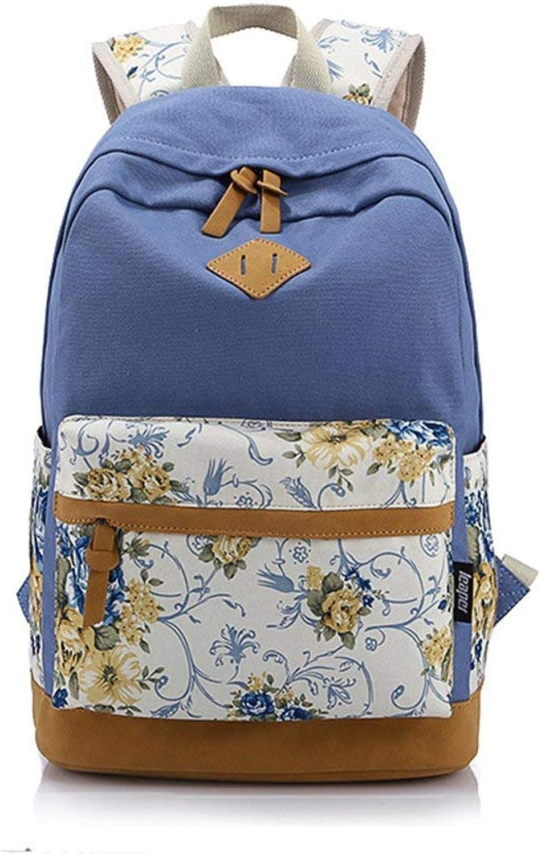 Amayay Daypacks Rucksack Freizeit Frau Schultasche Canvas Tasche Floral Schultertasche Schule Einfacher Stil Schultertasche Für Schulreisen Wandern Farbe Rosig (Farbe   Blau, Größe   One Größe)