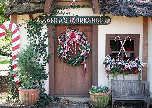 Leowefowa Christmas Santa's Workshop 9x6ft Door Front Backdrop Wooden Door Pine Wreath Candy Canes Vinyl Photography Background Xmas Party Decor Children Kids Adult Photo Shoot Indoor Decor Wallpaper