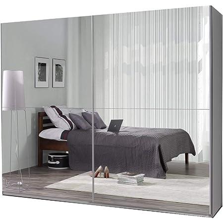 Armoire, Penderie avec 2 Portes coulissantes (L x H x P): 244x206x62 Maxi (Maxi 27 Miroir)