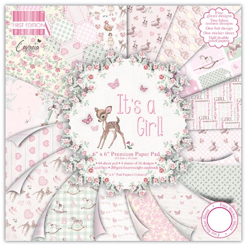 First Edition It's a Girl - Bloc de de Papel para Manualidades (15,24 x 15,24 cm, 64...