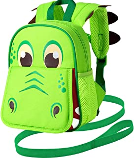 "Toddler Backpack Leash, 9.5"" Safety Harness Dinosaur Bag - Removable Tether"