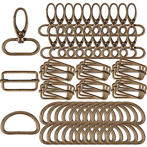 VINFUTUR 60 Stk 3 MUSTER D-Ringe Schiebeschnalle Triglide Gurtversteller Drehbare Karabinerhaken Magnetknopf Magnetverschluss Metall für DIY Tasche Rucksack Zubehör Gurt 3.2cm