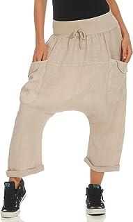 Malito Mujer Harem Pantalones Lino Pantalones Bloomers Capri Colores Lisos 6285