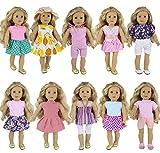 ZITA ELEMENT 10 Set Puppenkleidung Kleider für 40cm-46cm Puppen und 16-18 Zoll Americal Girl Dolls Traumkleid Bekleidung Blumenkleid Sommerkleid Puppenkleider Puppenkleidung Set
