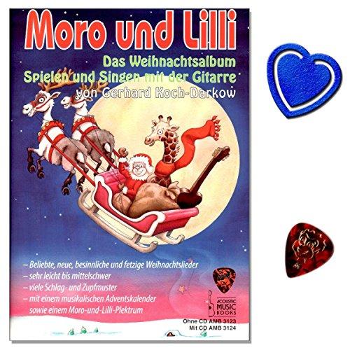 Moro und Lilli Das Weihnachtsalbum - Weihnachtslieder für Gitarre (ohne CD), mit Plektrum, Weihnachtskalender, bunter herzförmiger Notenklammer - viele Schlag- und Zupfmuster