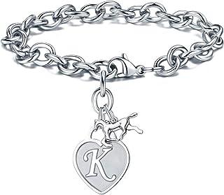 Turandoss Horse Gifts Charm Bracelets for Girls, Engraved 26 Letters Initial Bracelet Stainless Steel Horse Charm Bracelet...