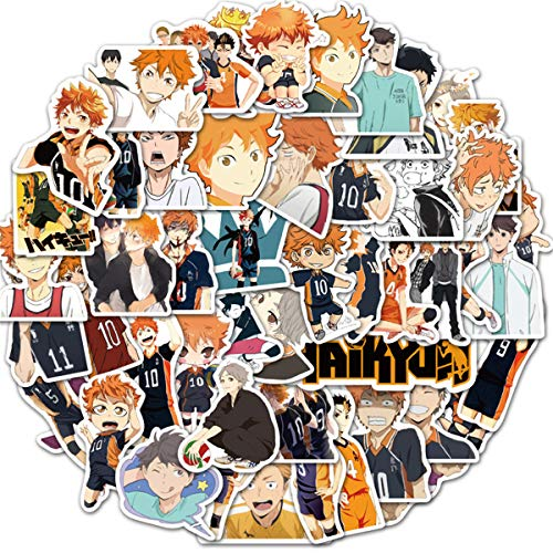 Haikyuu!! Stickers for Water Bottles 50 Pcs Waterproof Cute Aesthetic Trendy Stickers for Teens Kids Girls and Boys, Perfect for Laptop Notebook Tablet Phone Car Travel