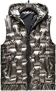 Soft Men's Winter Outerwear Vest Packable Quilted Puffer Down Vest with Hood Travel Casual Outdoor Sleeveless Down Vest Fi...