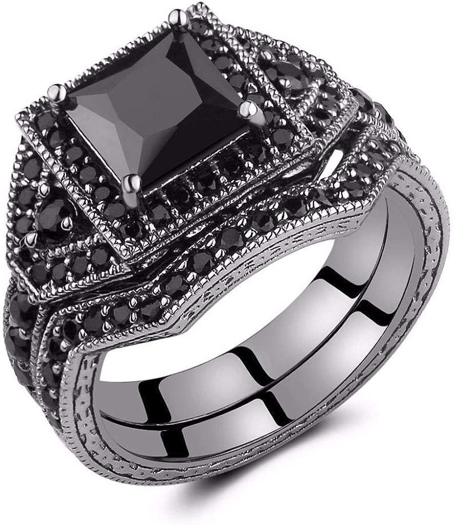 Castillna Black Cubic Zirconia In stock CZ Simulated Diamond Cut Ranking TOP15 Princess