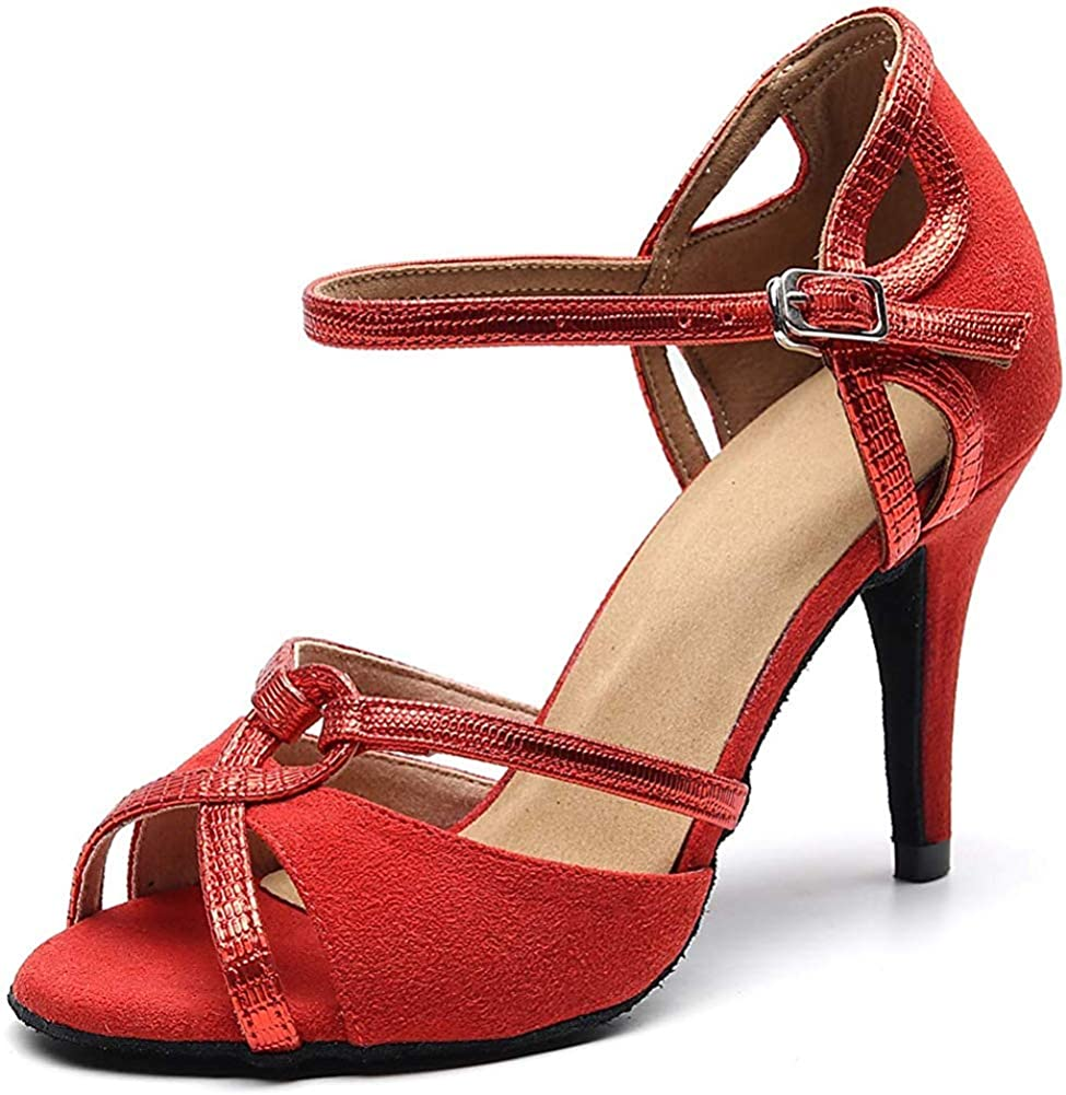 Purifit Women Ballroom Dancing Shoes Ladies Latin Sandals Suede Sole Heels Buckle-up