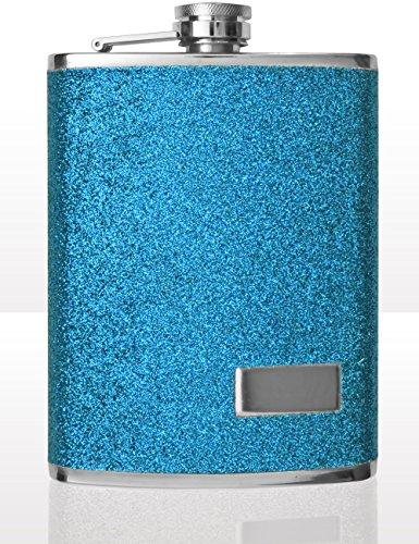 Outdoor Saxx® - Edelstahl Flachmann, Design Glitter blau, hochwertige Taschen-Flasche Whiskey Schnaps, Schraubverschluss, 240ml, blau