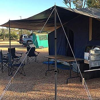 Umisu Lot de 2 Pièces Support de Tente Poteaux de Bâche Barre en Aluminium Télescopique 2.3 Mètres Voile d?Ombrage pour Camping Vacances Accessoire de Tente Auvent Noir