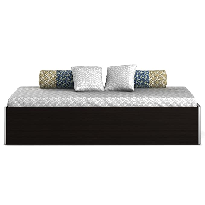 Spacewood Single Size Engineered Wood Bed with Box Storage  Particle Board   Natural Wenge  Beds, Frames   Bases