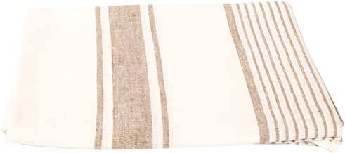 LinenMe 0152501 Towel Beige Tuscany 39 x 53, Made in Europe, Bath Sheet, European Linen, Machine Washable, Super Absorbent, Standard OFF WHITE/GREY