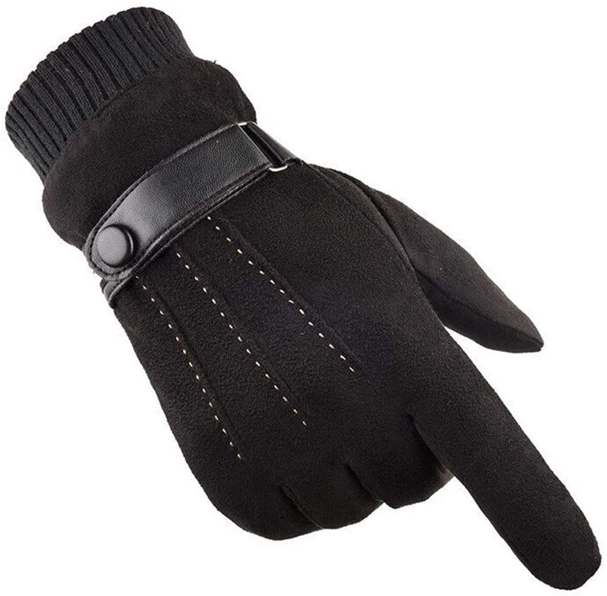 FASGION One Pair of Solid Color Outdoor Warm Riding Windproof Men's Thick All-Finger Gloves Warm Suede Velvet Gloves Ski Accessories Hot (Color : Black, Gloves Size : One Size)