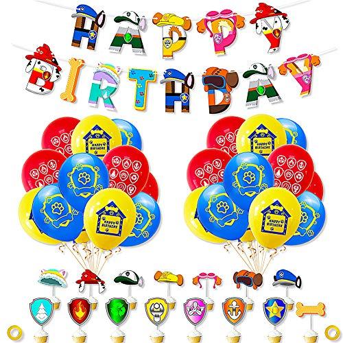 Bestzy Set Paw Patrol Hund Geburtstag Ballon 38 Stück Paw Patrol Ball Paw Dog Patrol Hanging Swirl Dekoration für Jungen Geburtstag Baby Dusche Dekoration