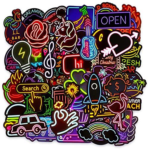 Neón Pegatinas, Hilloly 100 Piezas Neón Graffiti Stickers Neón Stickers Neón Maleta Pegatinas Neón Moto Graffiti Stickers para Computadora, Motocicleta, Equipaje, Decoración de Bricolaje, 4-8cm