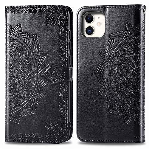 Compatible con iPhone 12 Mini, iPhone 12 Mini, funda de piel con tarjetero, funda plegable, mandala con cierre magnético, protección (iPhone 12 Mini, Negro)