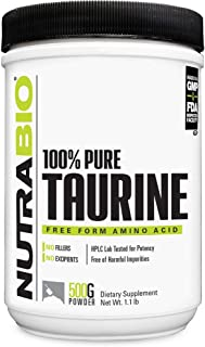 NutraBio Taurine Supplement (500 Grams of Powder, 1000 mg Serving)