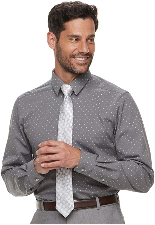 Van Heusen Flex 3 Slim FIt 4 Way Stretch Dress Shirt, Size 13-13 1/2 32-33 Graphite