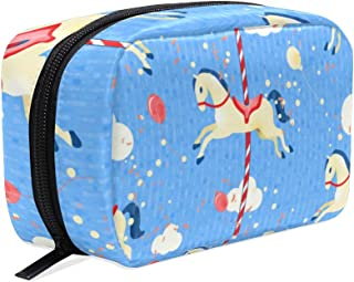 Cosmetic Bag Makeup Case Toiletry Pouch Carousel Horse Blue
