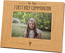 """'on Your First Holy Communion' Photo Frame - 1st Holy Communion Gifts - Communion Gift Ideas for Girls Boys or Goddaughter Godson - Wooden 6x4"""" Engraved Picture Frame with Cross Design"""
