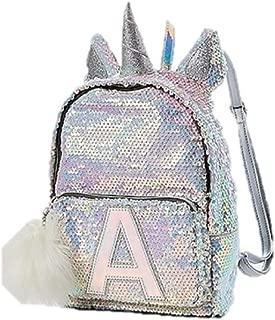 Justice Flip Sequin Mini Backpack Bleach White Unicorn Initial (Letter K)