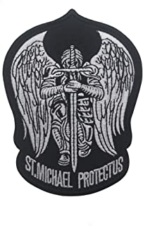 St.Saint Michael Protect Us Modern Morale Embroidered Patch Tactical Military Army Operator Patches Applique for Coat Jacket Gear Cap Hat Backpack (Gray)