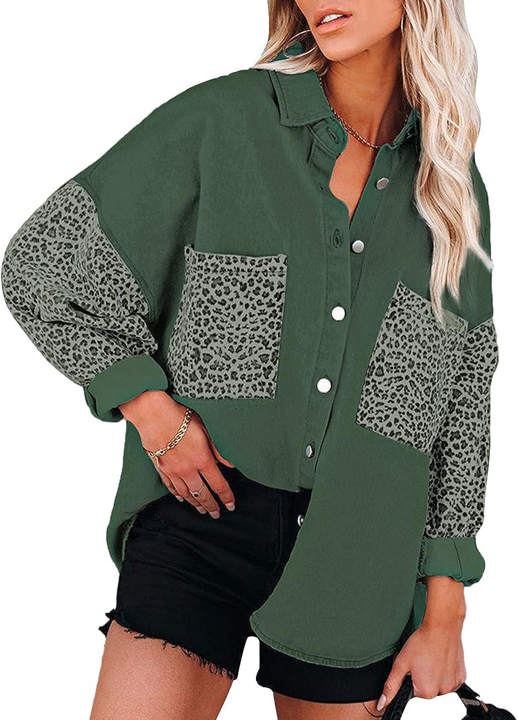 Xishiloft Womens Leopard Print Color Block Denim Jacket Lapel Long Sleeve Button Down Pocket Casual Oversized Jean Coats