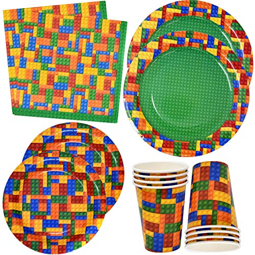 Colorful Building Block Party Supplies Disposable Tableware Set 24 9 Paper Dinner Plates 24 7 Dessert Plates 24 9 Oz Cups 50 Luncheon Napkins For Kids Color Brick Blocks Themed Birthday Decorations