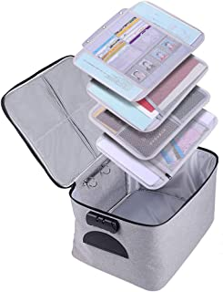 Extra Large Document Organizer,Safe File Storage Box with Lock, Portable Paper Organizer with Detachable separators,Home O...