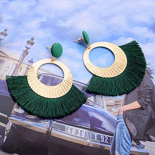 Openwork Style Big Circle Crystal Tassel Dangle Stud Earrings Fashion Jewelry