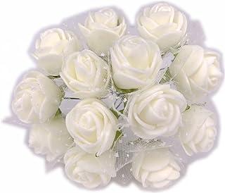 Cotigo -96 Piezas Artificiales Rosa Flor de Goma eva Novia Decoración, Boda Fiesta Favor, Hogar y Jardín Decoración, Artesanía, Bricolaje,Color Marfil