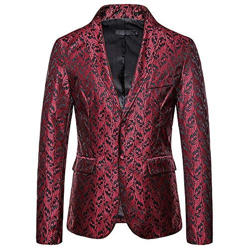 Qishi - Chaqueta para hombre con un solo pecho y ajuste delgado, para hombre, estilo casual, chaqueta de negocios Rojo rosso L