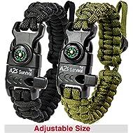 A2S Protection Paracord Armband K2-Peak - Survival Gear Kit mit integriertem Kompass, Feuerstarter, Notfallmesser & Pfeife (Schwarz/Grün)