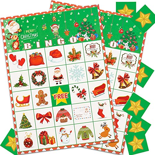 Joy Day Christmas Bingo Game Xmas/Holiday/Winter Party Supplies Xmas Gifts for Kids Xmas Party Game Classroom Activities for 24 Players Christmas Party Game Favors