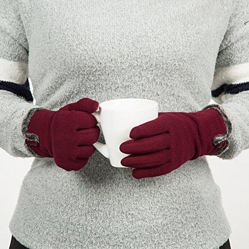 GLOUE Warm Winter Handschuhe Damen Touchscreen Handschuhe Kaschmir Drinnen Draußen Fahrradhandschuhe Motorradhandschuhe Mountainbike Handschuhe - 4